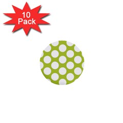 Spring Green Polkadot 1  Mini Button (10 pack)