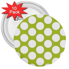 Spring Green Polkadot 3  Button (10 pack)