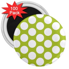Spring Green Polkadot 3  Button Magnet (100 pack)