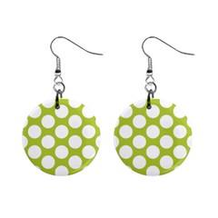 Spring Green Polkadot Mini Button Earrings