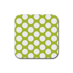 Spring Green Polkadot Drink Coasters 4 Pack (Square)