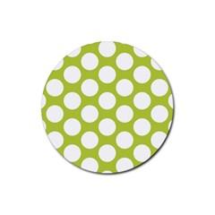 Spring Green Polkadot Drink Coaster (round)
