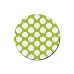 Spring Green Polkadot Drink Coasters 4 Pack (Round) Front