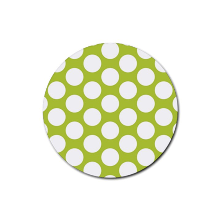 Spring Green Polkadot Drink Coasters 4 Pack (Round)