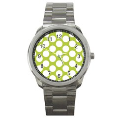 Spring Green Polkadot Sport Metal Watch
