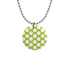 Spring Green Polkadot Button Necklace