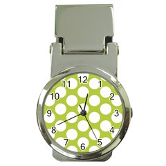 Spring Green Polkadot Money Clip with Watch
