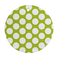 Spring Green Polkadot Round Ornament (two Sides)