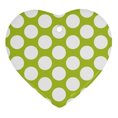 Spring Green Polkadot Heart Ornament (two Sides)