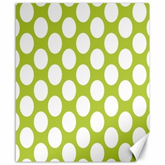 Spring Green Polkadot Canvas 8  X 10  (unframed)