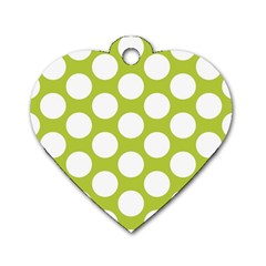 Spring Green Polkadot Dog Tag Heart (one Sided)