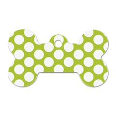 Spring Green Polkadot Dog Tag Bone (Two Sided)