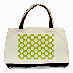 Spring Green Polkadot Twin-sided Black Tote Bag