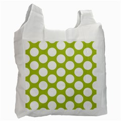 Spring Green Polkadot White Reusable Bag (One Side)