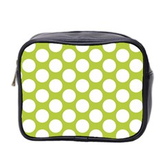Spring Green Polkadot Mini Travel Toiletry Bag (two Sides)