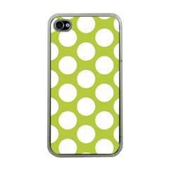 Spring Green Polkadot Apple Iphone 4 Case (clear)