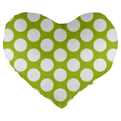 Spring Green Polkadot 19  Premium Heart Shape Cushion
