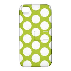 Spring Green Polkadot Apple iPhone 4/4S Hardshell Case with Stand