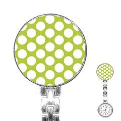 Spring Green Polkadot Stainless Steel Nurses Watch