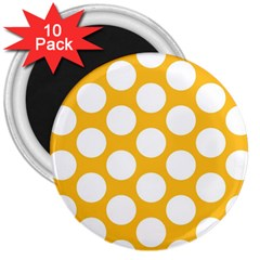 Sunny Yellow Polkadot 3  Button Magnet (10 pack)