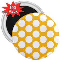 Sunny Yellow Polkadot 3  Button Magnet (100 pack)