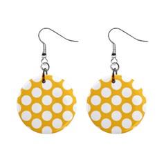 Sunny Yellow Polkadot Mini Button Earrings