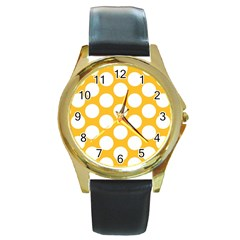 Sunny Yellow Polkadot Round Leather Watch (Gold Rim)