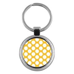 Sunny Yellow Polkadot Key Chain (Round)
