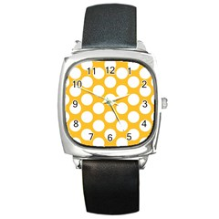 Sunny Yellow Polkadot Square Leather Watch