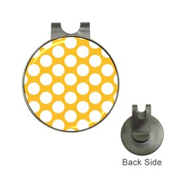 Sunny Yellow Polkadot Hat Clip With Golf Ball Marker