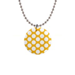 Sunny Yellow Polkadot Button Necklace