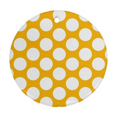 Sunny Yellow Polkadot Round Ornament (Two Sides)