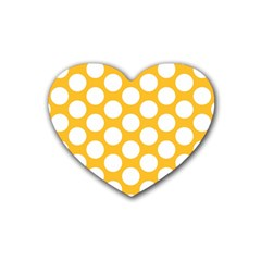 Sunny Yellow Polkadot Drink Coasters (heart)