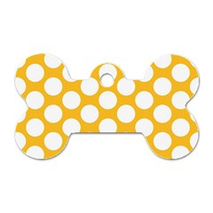 Sunny Yellow Polkadot Dog Tag Bone (two Sided)