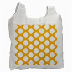Sunny Yellow Polkadot White Reusable Bag (Two Sides)