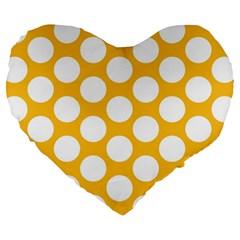 Sunny Yellow Polkadot 19  Premium Heart Shape Cushion