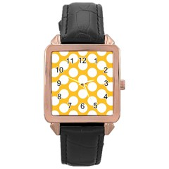 Sunny Yellow Polkadot Rose Gold Leather Watch