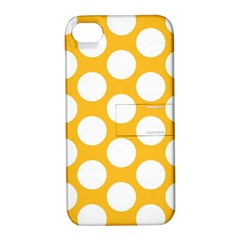 Sunny Yellow Polkadot Apple Iphone 4/4s Hardshell Case With Stand