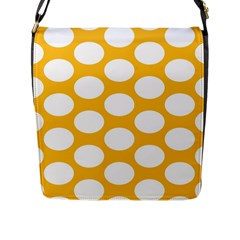 Sunny Yellow Polkadot Flap Closure Messenger Bag (Large)