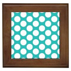 Turquoise Polkadot Pattern Framed Ceramic Tile