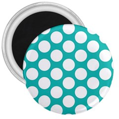 Turquoise Polkadot Pattern 3  Button Magnet