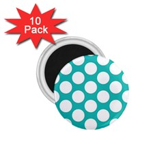 Turquoise Polkadot Pattern 1 75  Button Magnet (10 Pack)