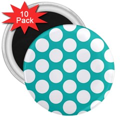 Turquoise Polkadot Pattern 3  Button Magnet (10 pack)