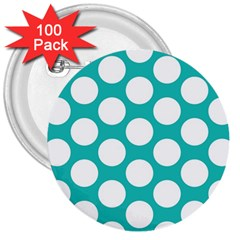 Turquoise Polkadot Pattern 3  Button (100 pack)