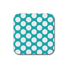 Turquoise Polkadot Pattern Drink Coasters 4 Pack (square)