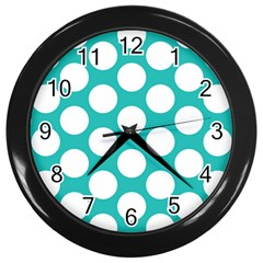Turquoise Polkadot Pattern Wall Clock (black)