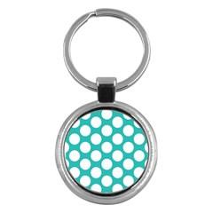 Turquoise Polkadot Pattern Key Chain (Round)