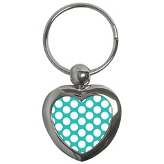 Turquoise Polkadot Pattern Key Chain (Heart)