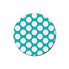 Turquoise Polkadot Pattern Drink Coasters 4 Pack (Round)