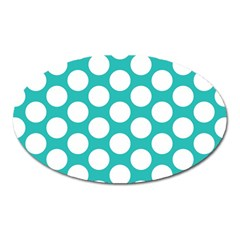 Turquoise Polkadot Pattern Magnet (Oval)
